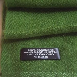 Accessories - Kelly Green Cashmere Scarf, Handwoven